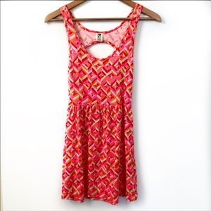 Roxy pink printed open back dress size XS